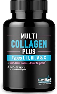 Multi Collagen Pills  - Collagen Peptides + Absorption Enhancer - Grass Fed Collagen Protein Blend for Anti-Aging, Hair, Skin, Nails and Joints