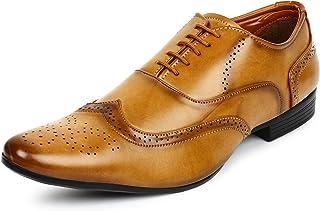 BUWCH Men Brown Formal Brogue Shoe