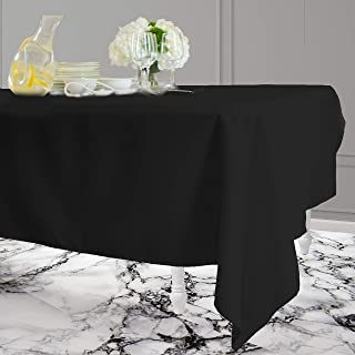 Kadut Rectangle Tablecloth (60 x 102 Inch) Rectangular Table Cloth for 6 Foot Table | Heavy Duty Fabric | Stain Proof Table Cloth for Parties, Weddings, Kitchen, Wrinkle-Resistant Table Cover | Black