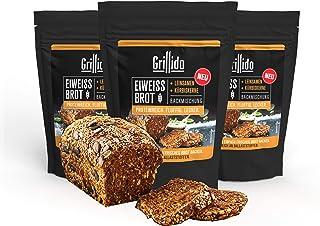 NEU Grillido Eiweiß-Brot Backmischung mit 38% Protein I 3x300GR für 1.5 KG Brot I mit Leinsamen & Kürbiskernen I Lactosefrei I Vegan I Proteinreich