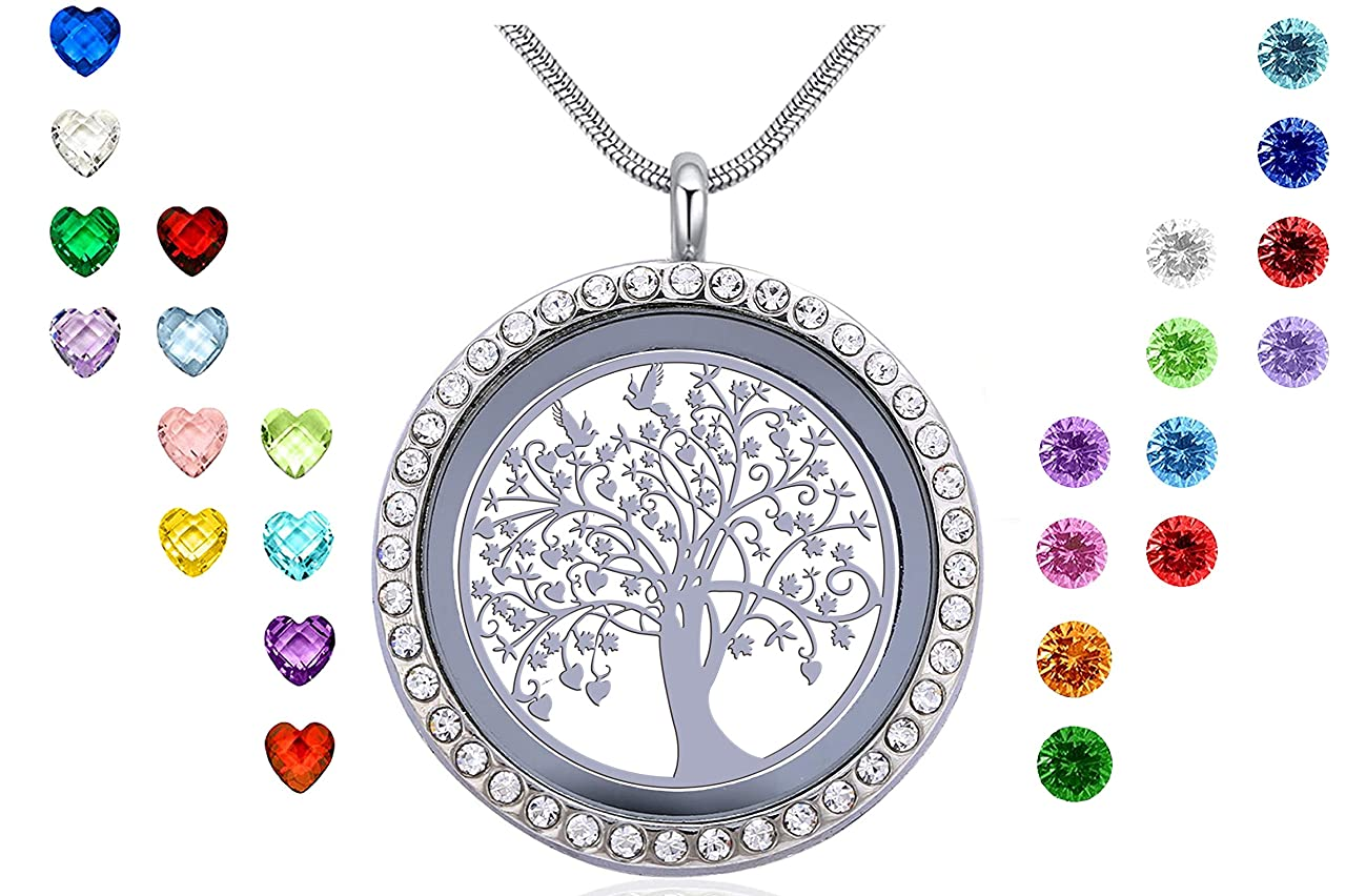 Xingzou Family Tree of Life Floating Locket, Charm Living Memory 24Pcs Birthstones Necklace Pendant with Pretty Gift Box