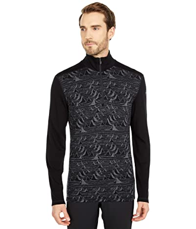 Smartwool Merino 250 Base Layer Pattern 1/4 Zip (Black Bryan Iguchi Mountains) Men