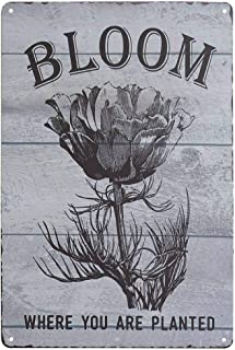 SKYC Floral Bloom Where You're Planted Vintage Metal Tin Signs Home Bar Shop Decorations Coffee Sign Gift 8X12Inch