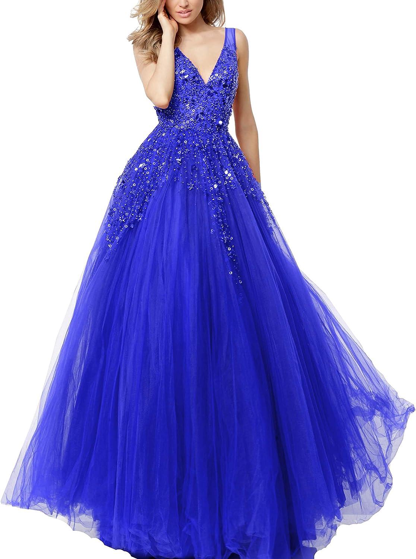 Maricopyjam Women's Sexy V Neck Sequins Prom Dress Beaded Evening Dress