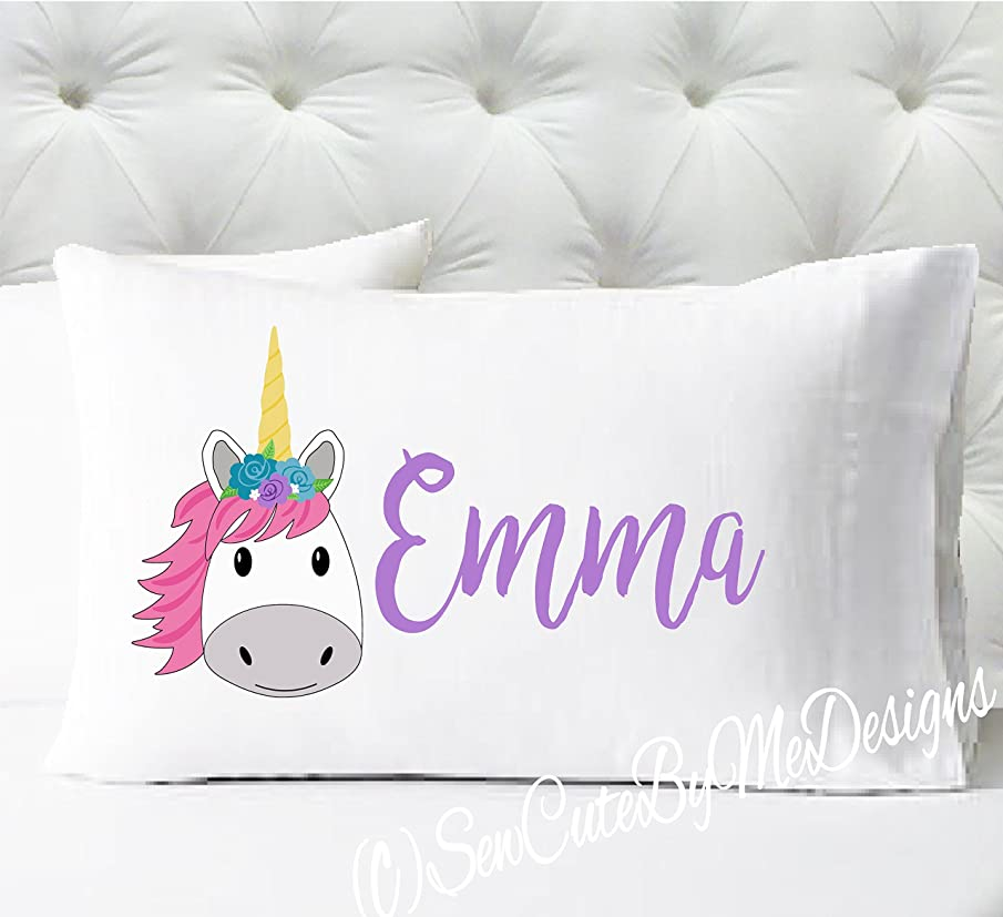 Personalized Girls Pillowcase -Unicorn - white case with pink and lavender print