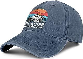 Vintage-Glacier-National-Park- Hat for Mens Womens Sun Hat Adjustable Outdoor Denim Strapback Hat Caps
