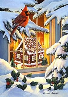 Toland Home Garden 1012246 Gingerbread Cardinal House Flag (28 x 40-Inch), (28