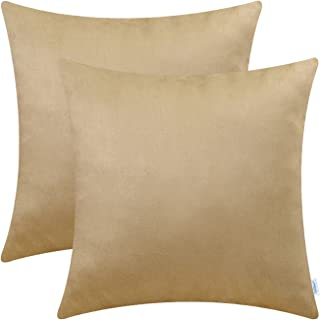 CaliTime Pack of 2 Cozy Throw Pillow Covers Cases for Couch Bed Sofa Super Soft Faux Suede Solid Color Both Sides 20 X 20 Inches Tan