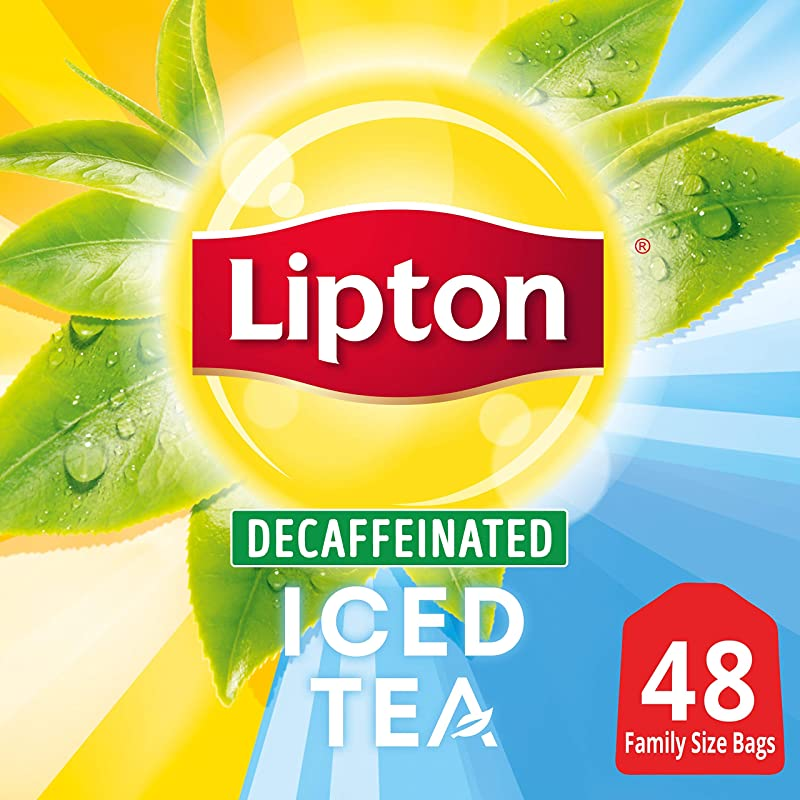 Lipton Family Sized Black Iced Tea Bags Decaffeinated Unsweetened 48 Ct