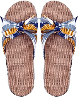 YAOLUU Summer Slippers Mujeres acogedoras de algodón Interior Lino de algodón Zapatillas Antideslizantes Casuales Sandalia...