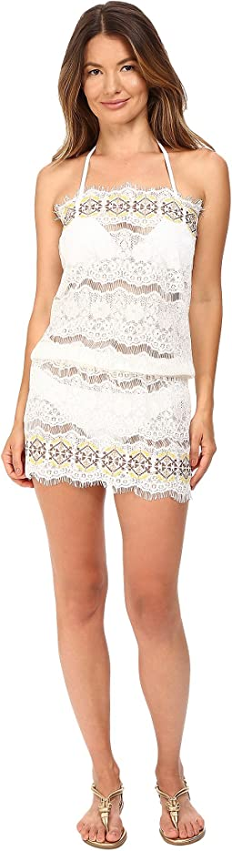 Kea Lace Embroidered Strapless Beach Dress