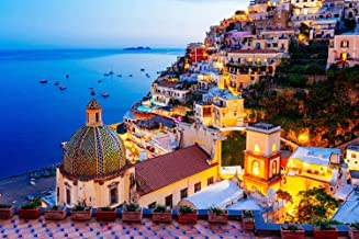 Jigsaw Puzzle 1000 Piece - Dreamy Positano - Signature Collection Twilight Sea Sight Large Puzzle Game Artwork for Adults ...