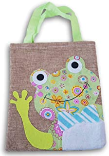 Spring Time Mini Rustic Burlap Tote Bag with Frog Applique - 7.5 x 9 Inch