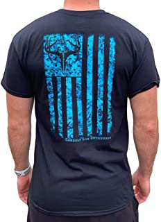 Country Life Outfitters Blue Camo American Flag Black Mens Short Sleeve T-Shirt