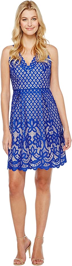 Adrianna Papell - V-Neck Halter Giselle Lace Fit and Flare Dress