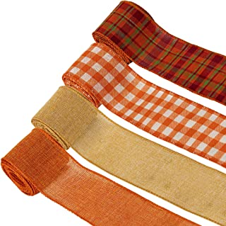 4 Pack Plaid Burlap Ribbon Rolls, Fall Colors Wired Wrapping Burlap Ribbon with Harvest and Thanksgiving Theme for Wrapping Gifts, Home Decoration and DIY(2.5in, 26yd)