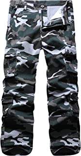 Men's Cargo Pants Casual Elastic Waist Multi Pockets Military Work Pants