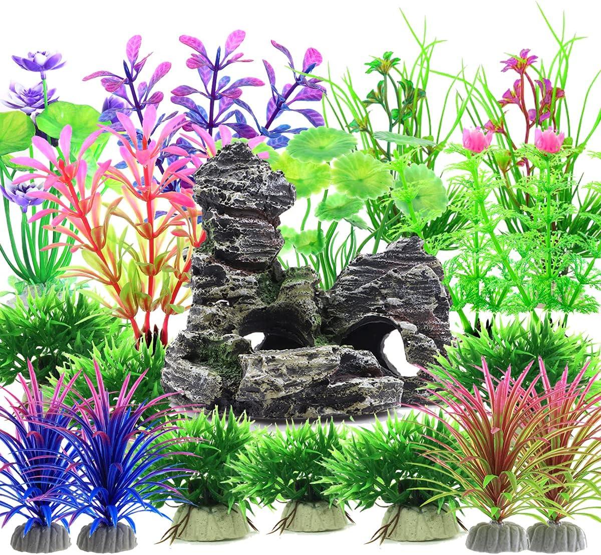 Pianta Piante Artificiali Acquario Kit, Vibury 28 Pezzi Ornamento Paesaggio Grotta Acquario Decoro Plantes d'ornement pour aquarium