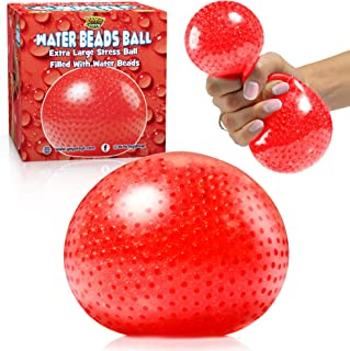 YoYa Toys Beadeez Squishy Stress Balls with Gel Water Beads - Jumbo Size (Red) - Anti-Stress ADHD Anxiety Relief Sensory Toy for Kids and Adults - Promote Calm Focus, Reduce Hand, Wrist Pain