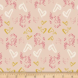 Art Gallery Love Story Hearts Fletching Gold Fabric by The Yard