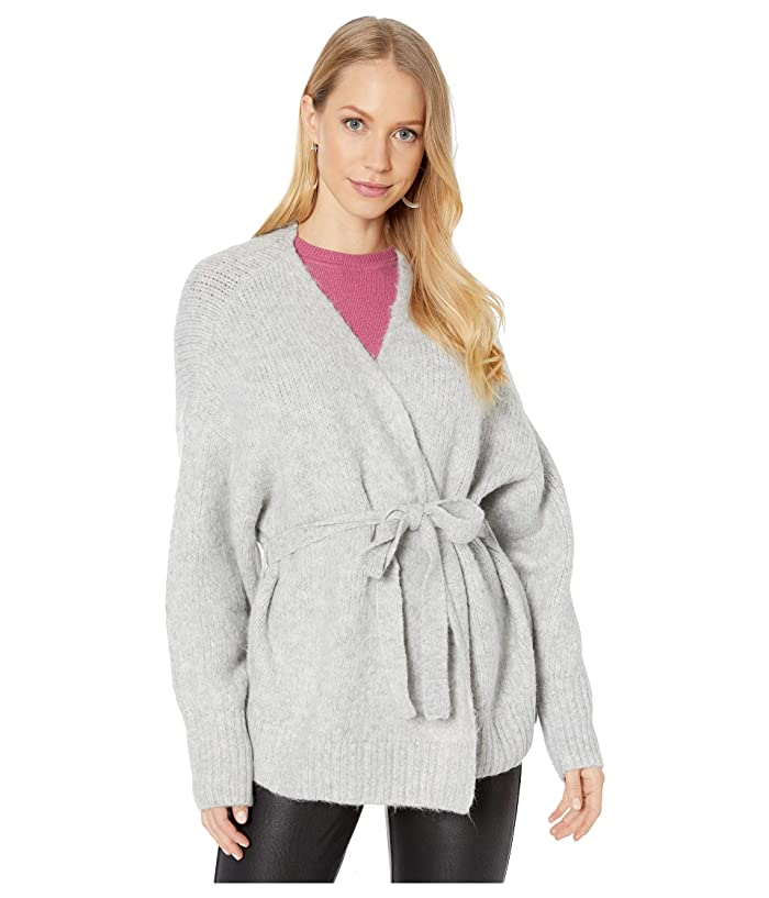 1.STATE  Belted Jersey Stitch Cardigan (Silver Heather) Womens Sweater