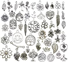 Youdiyla 100pcs Mix Silver Tree Flower Charms Collection, Bulk Mini Small Little Charms Metal Pendant Craft Supplies Findings for Necklace and Bracelet Jewelry Making (HM291)