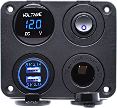 Cllena 4 in 1 Multi-Functions Panel, Dual USB Charger Socket 4.2A + Digital Voltmeter + 12V Power Outlet + ON-Off Toggle Switch for Car Marine Boat Truck Rv ATV UTV Golf Cart Camper etc. (Blue)