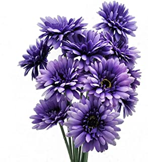 cn-Knight Artificial Flower 12pcs 22'' Long Stem Silk Daisy Faux Mums Flower Chrysanth Gerbera for Wedding Bridal Bouquet Bridesmaid Home Decor Office Baby Shower Prom Centerpiece(Purple)