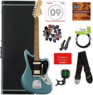 Fender Player Jaguar, Pau Ferro - Tidepool Bundle with Hard Case, Cable, Tuner, Strap, Strings, Picks, Capo, Fender Play Online Lessons, and Austin Bazaar Instructional DVD