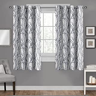 Exclusive Home Curtains EH8271-06 2-63G Branches Linen Blend Window Curtain Panel Pair with Grommet Top, 54x63, Indigo, 2 ...