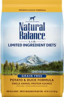 Natural Balance L.I.D. Limited Ingredient Diets Dry Dog Food, Potato & Duck Formula, 4.5 Pounds, Grain Free