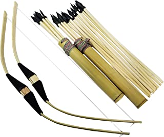 Adventure Awaits! - 2-Pack Handmade Wooden Bow and Arrow Set - 20 Wood Arrows and 2 Quivers - for Outdoor Play