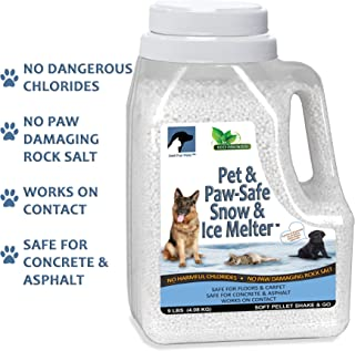 Just For Pets Snow & Ice Melter Safe for Pets & Paws Contains No Toxic Chlorides or Painful to The Paw Rock Salt, Safe for Dogs & Cats. Fast Acting and Works On Contact 9 lb. Shaker Jug