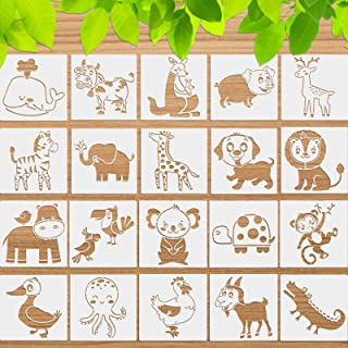 20 Pieces Animal Stencils Painting Art Templates Stencils Reusable Washable Drawing Template Kids Stencils for Scrapbookin...