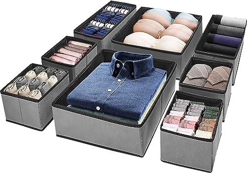 (8 Set) Puricon Clothes Organizers Dresser Drawer Organization, Foldable Closet Organizer Underwear Basket Cubes Cont...