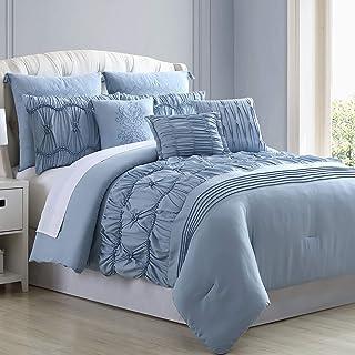 Amrapur Overseas Sharan 8-Piece Embellished Comforter Set, Queen, Blue