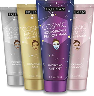 Freeman Beauty Cosmic Peel-Off Face Mask Variety Set, Gold Skin Care Facial Masks for Women, 4pk Tubes