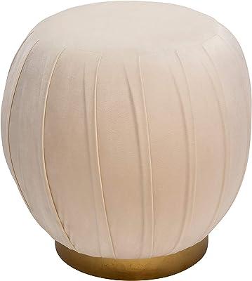 "Sagebrook Home 14110-01 Pleated 18"" Velveteen Ottoman,Cream, 16.5''L x 16.5''W x 18''H, Ivory/Beige"