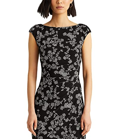 LAUREN Ralph Lauren Floral Ruched Boatneck Dress