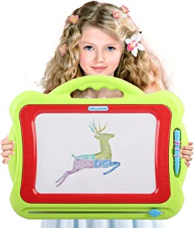 Magnetic Drawing Board Kids | 4 Color Zone Erasable Magna Doodle Pad Educational Sketching Boys Girls 3 Years Up - Green and Red