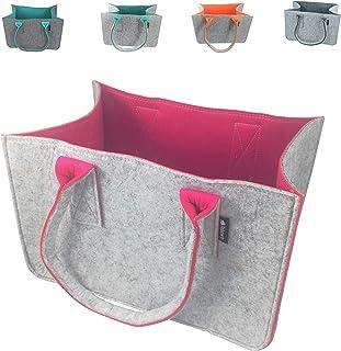 Shopping-Bag aus Filz-Stoff, große Einkaufs-Tasche mit Henkel, Einkaufskorb, faltbare Kaminholztasche zur Aufbewahrung von...