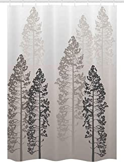 Ambesonne Country Stall Shower Curtain, Pine Trees in The Forest on Foggy Seem Ombre Backdrop Wildlife Adventure Artwork, Fabric Bathroom Decor Set with Hooks, 54