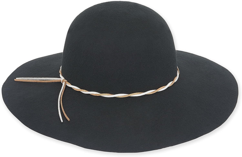Adora Women's Wool Felt Wide Brim Floppy Fedora Hat 460