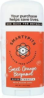 SmartyPits - Natural/Aluminum-Free Deodorant (with baking soda) Paraben Free, Phthalate Free, PROPYLENE GLYCOL FREE, Not Tested on Animals | 2.9oz (Sweet Orange Bergamot)