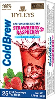 HYLEYS Tea Natural Cold Brew Raspberry and Strawberry Tea - 25 Tea Bags (100% Natural, Sugar Free, Gluten Free and Non-GMO...