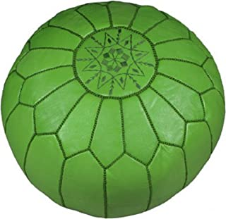 Moroccan Embroidered Leather Pouf / Ottoman, Green (Stuffed)