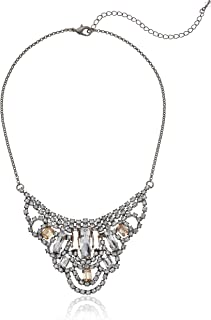 Sorrelli Womens Snow Bunny Radiating Baguette Crystal Bib Necklace, Clear/Pink, 16
