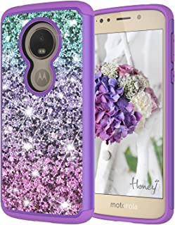 Moto G6 Play Case, Moto G6 Play Case for Girls, Jeylly Gradient Color Bling Glitter Luxury Crystal Dual Layer Shockproof Hard PC Soft TPU Inner Protector Case Cover for Motorola Moto G6 - Purple