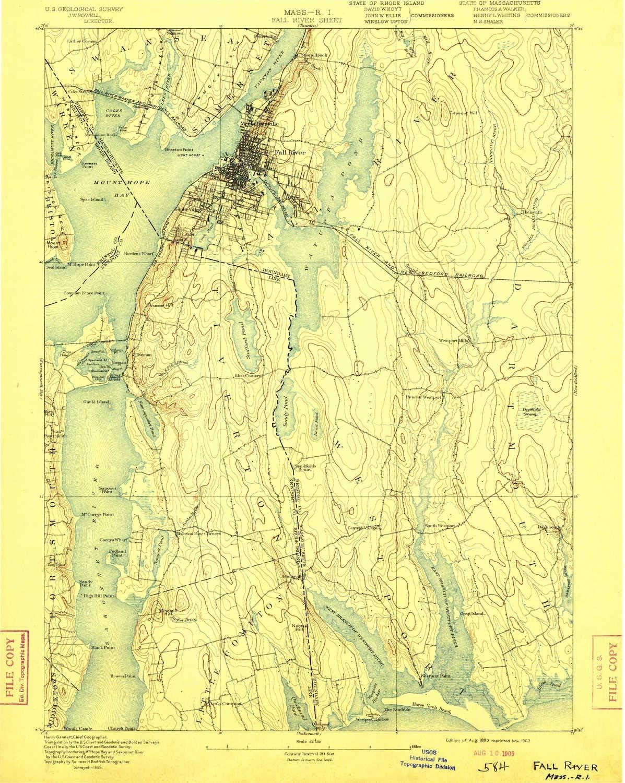 Amazon.com : YellowMaps Fall River MA topo map, 9:9 Scale, 95