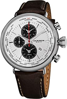 Men's AK629WT Quartz Movement Watch with White Dial and Brown with Cream Stitching Leather over Nubuck Strap